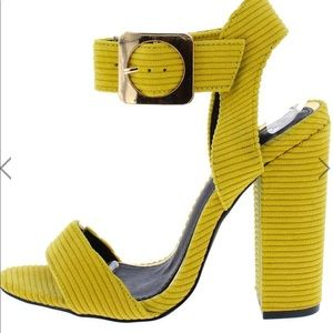 NWB Ribbed yellow heels with buckle